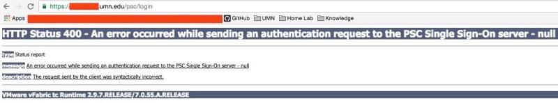 PSC Client HTTP 400 Error - NULL